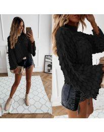 Ефектен дамски пуловер в черно - код 8092