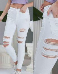 Накъсани дамски дънки в бяло - код 0859