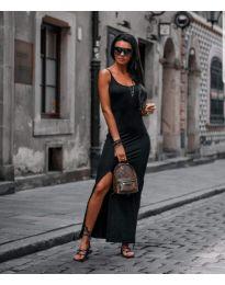 Дълга черна рокля по тялото с голяма цепка - код 821