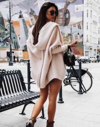 Дамска свободна плетена жилетка с качулка в бежово - код 4760