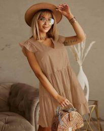 Дамска рокля в бежово - код 6224