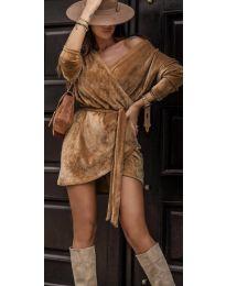 Дамска рокля в кафяво - код 238