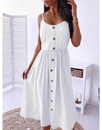Изчистена рокля цвят бяло - код 5057