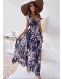 Дълга рокля с атрактивен десен в лилаво - код 736