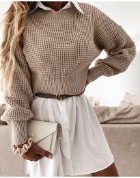 Дамски пуловер в бежово - код 4180