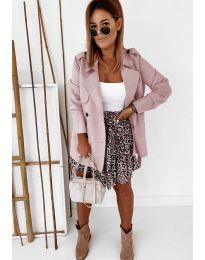Дамско палто в цвят пудра - код 826