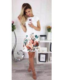 Бяла дамска рокля на цветя - код 026