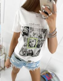 Атрактивна тениска с принт в бяло - код 2353