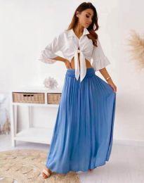 Дълга дамска пола в синьо - код 2667