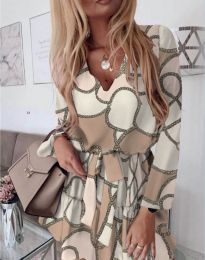 Феерична рокля в бежовата гама с бял мотив - код 566