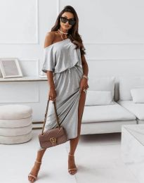 Атрактивна дълга рокля в светлосиво - код 11973