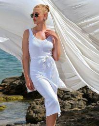 Дамска рокля в бяло с цепка - код 2722