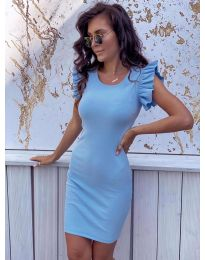 Изчистена рокля в цвят светло синьо - 199