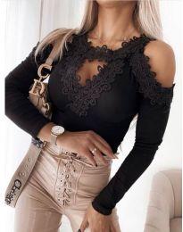 Атрактивна дамска блуза с дантела в черно - код 4268
