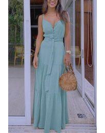 Дълга дамска рокля в цвят мента - код 2050