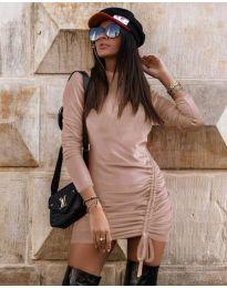 Дамска рокля в цвят пудра - код 9545