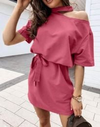 Дамска рокля в цвят корал - код 0256