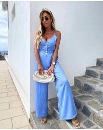 Стилен дамски гащеризон в светло синьо - код 6644
