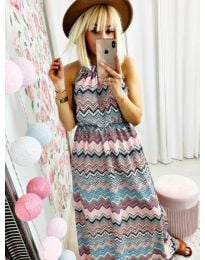 Дълга рокля с атрактивен десен - код 9855