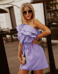 Кокетна дамска рокля в светлолилаво - код 7100
