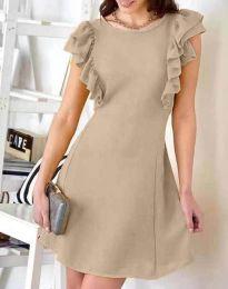 Дамска рокля в бежово с къдрички - код 7111