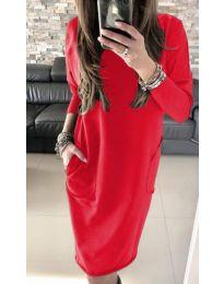 Червена дамска рокля с изрязан гръб и джобове - код 507 - 3