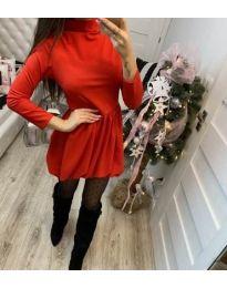 Изчистена рокля в червено с поло яка - код 658