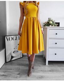 Елегантна рокля в цвят горчица - код 545