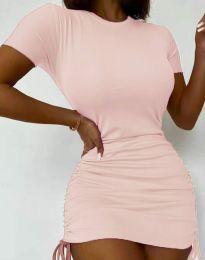 Дамска рокля в розово с връзки - код 5569
