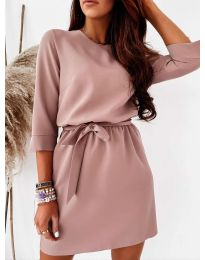 Елегантна дамска рокля в цвят пудра - код 778