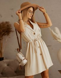Елегантна рокля в бежово - код 2702