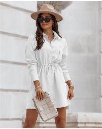 Рокля тип риза в бяло - код 132