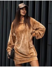 Дамска рокля в  медно кафяво - код 4547