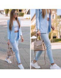 Спортно-елегантен дамски комплект в светло синьо - код 215