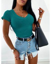 Изчистена дамска блуза в цвят тюркоаз - код 756