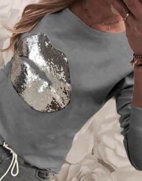 Ефектна дамска блуза в сиво - код 3963