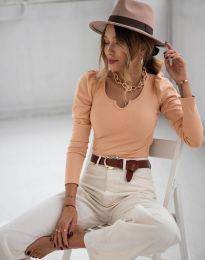 Дамска блуза в цвят праскова - код 1614