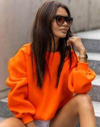 Стилна дамска блуза в неоновооранжево - код 5687