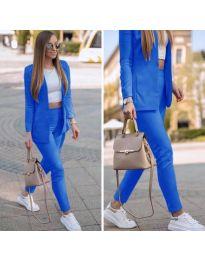 Спортно-елегантен дамски комплект в тъмно синьо - код 215
