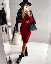 Стилна дамска рокля в червено - код 4845