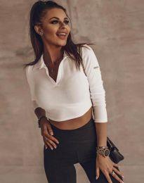 Къса дамска блуза в бяло - код 45211