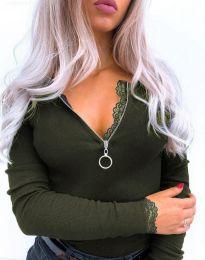 Дамска блуза в масленозелено - код 4046