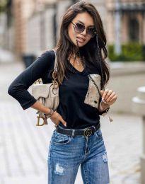 Черна дамска блуза с джоб с пайети - код 12078