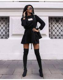 Къса дамска рокля в черно - код 0789