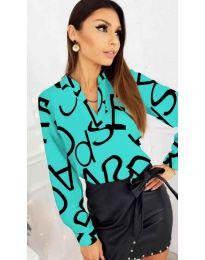Синя дамска риза без яка - код 823