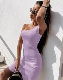 Вталена рокля в светлолилаво с едно рамо - код 6412