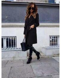 Елегантно дамско палто в черно - код 7940