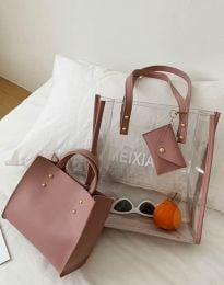 Атрактивна дамска чанта в цвят пудра - код B304