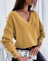 Изчистена дамска блуза в цвят горчица - код 5236