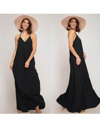 Свободна дълга рокля в черно - код 0508